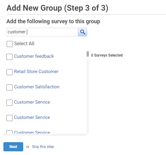 Assign surveys to the group