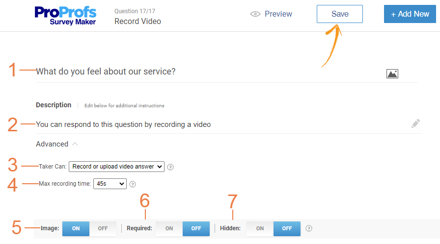 Add a record video question in a survey