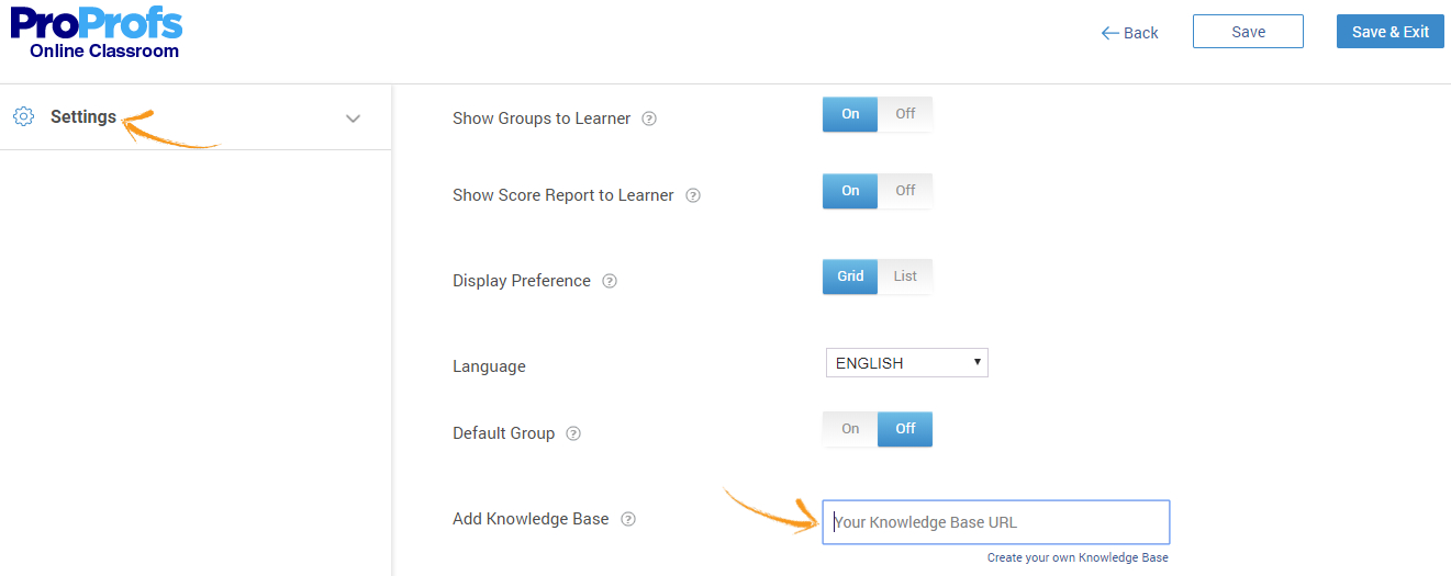 Add knowledge base to training software