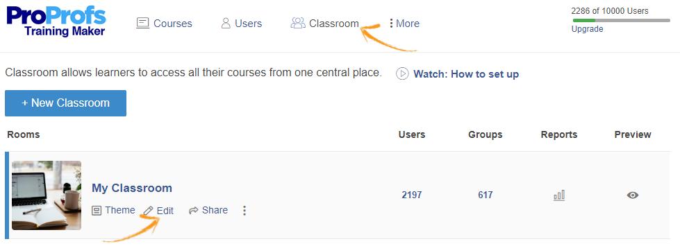 Online classroom editing