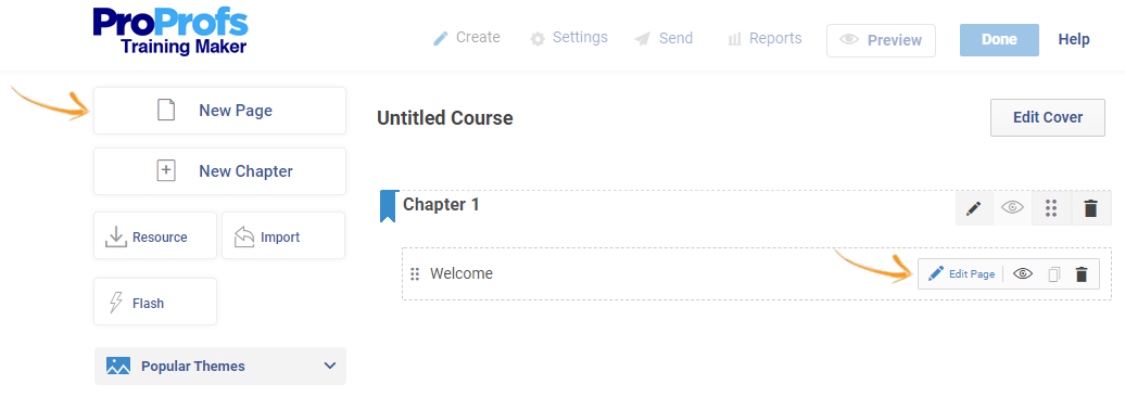 Add page and edit page in a course