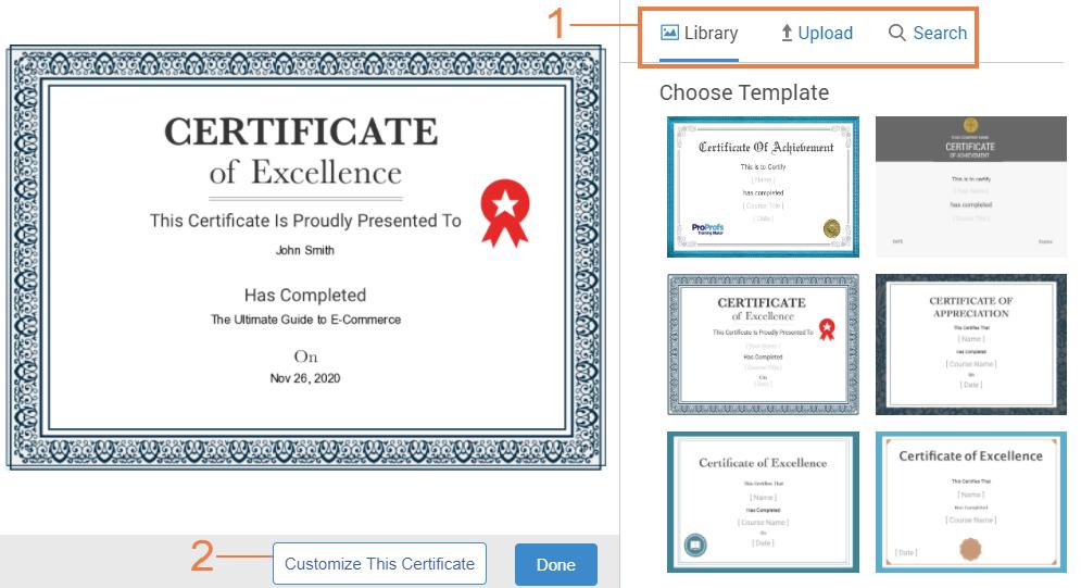Course certificate templates