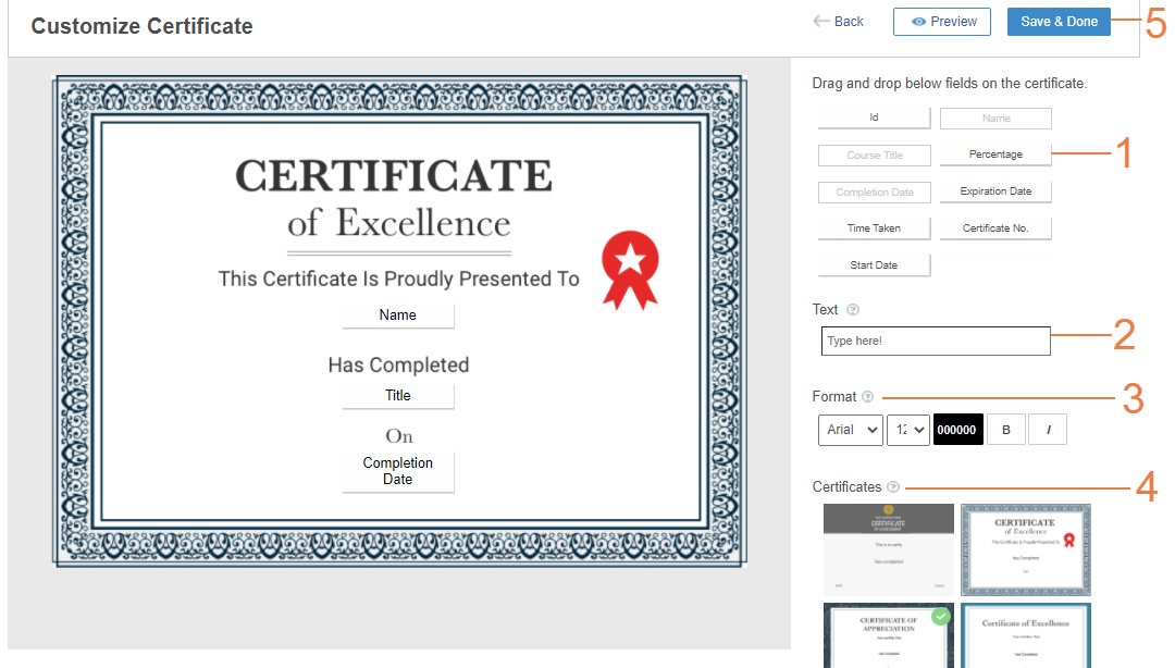 Customize course certificates