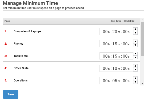 Assign minimum required time to course pages