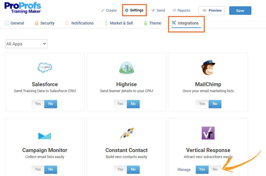 VerticalResponse integration with ProProfs training maker