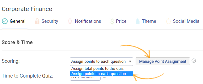 Assign scoring to quiz questions