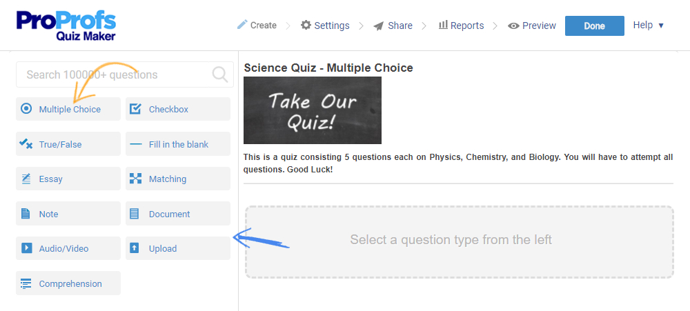 How to Create a Multiple Choice Quiz - ProProfs Quiz Maker