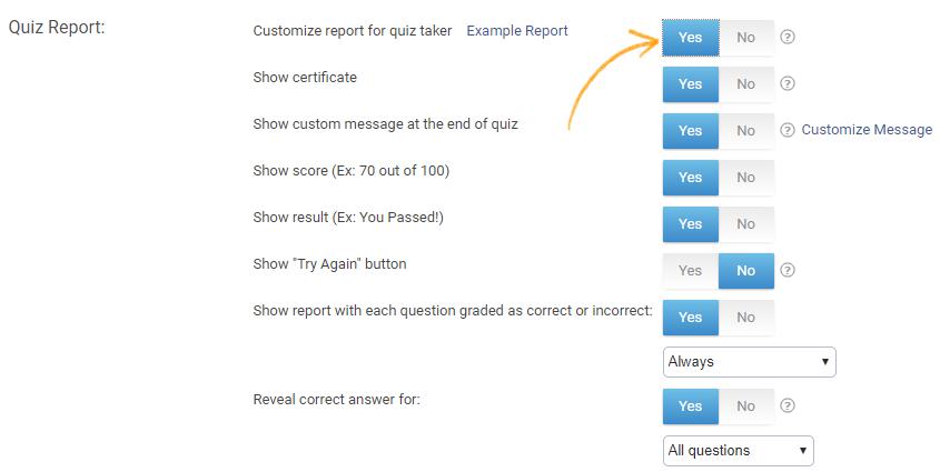 Online quiz reports