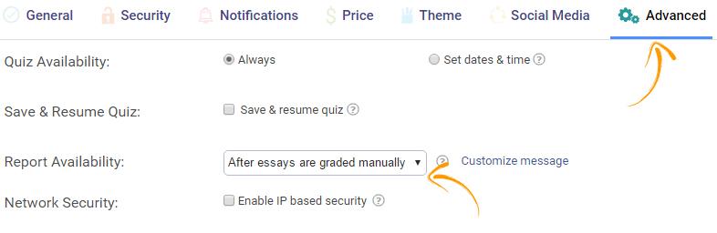 Online quiz report settings