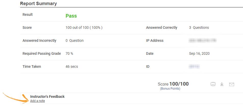 Instructor feedback on quiz reports