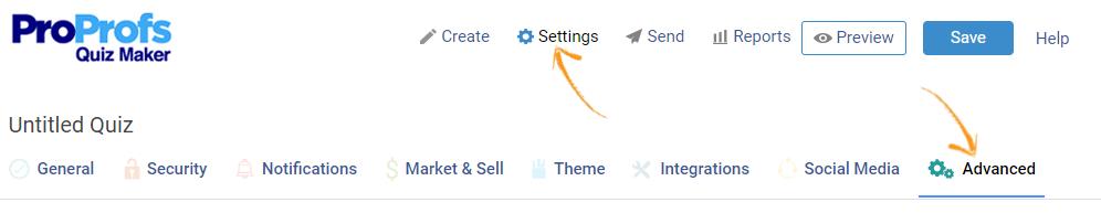 Online quiz settings