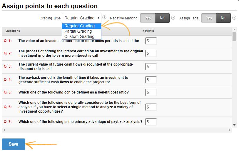 Regular grading in quiz questions