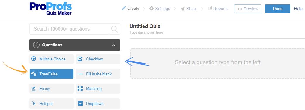 Online quiz editor