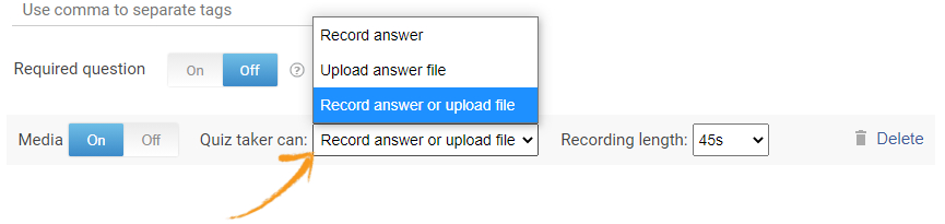 Record video or upload video in a quiz