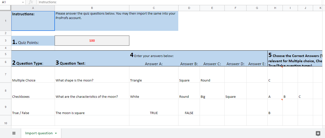 Sample questions in the Excel Sheet