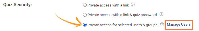 Online quiz privacy settings