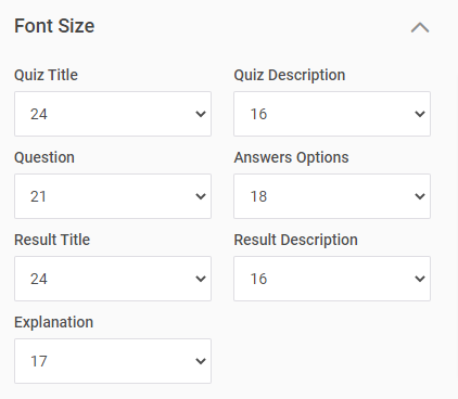 Font size for quiz text