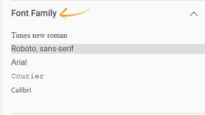 Font type in quiz