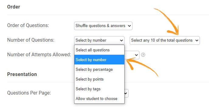 Select random questions in a quiz