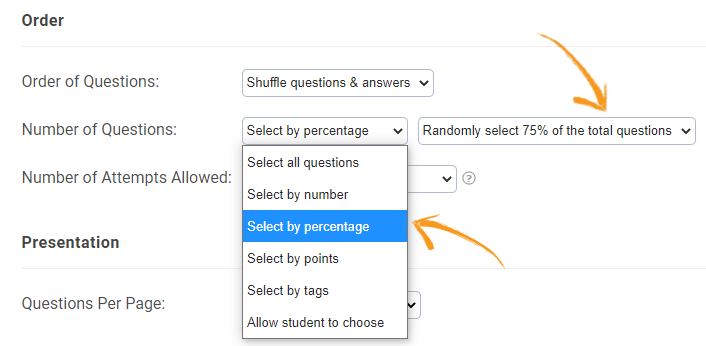 Select quiz questions by percentage