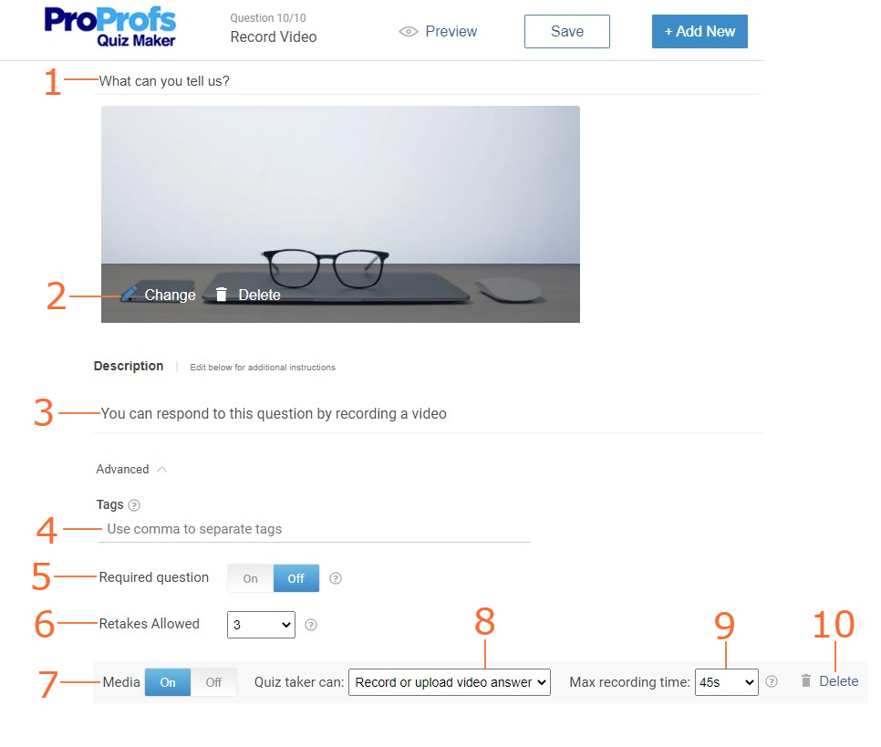 Customize record video question type