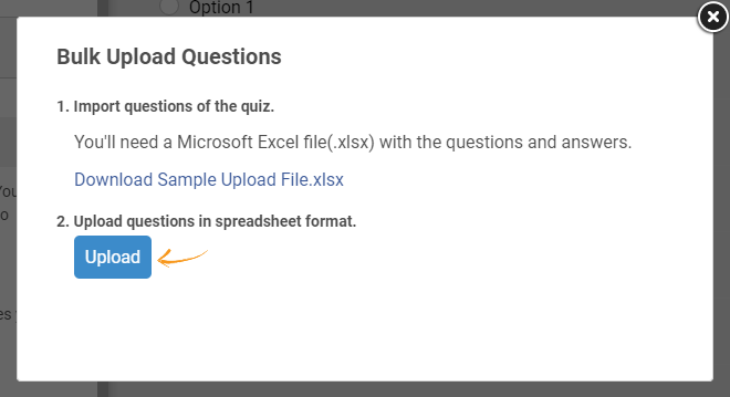 Uploading an excel sheet to import questions in bulk