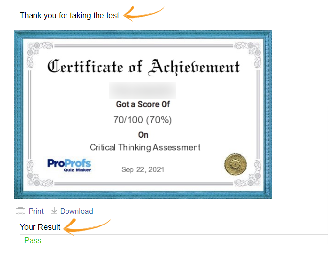 Quiz Completion Preview with result and a certificate