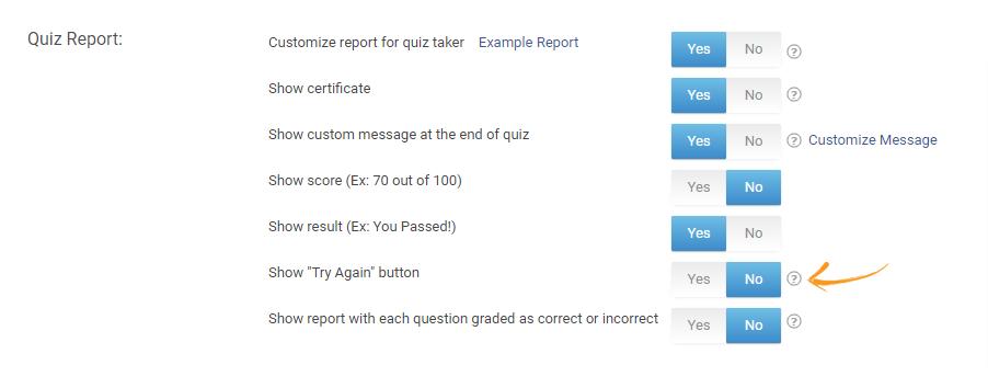 Disabling Quiz Reattempt