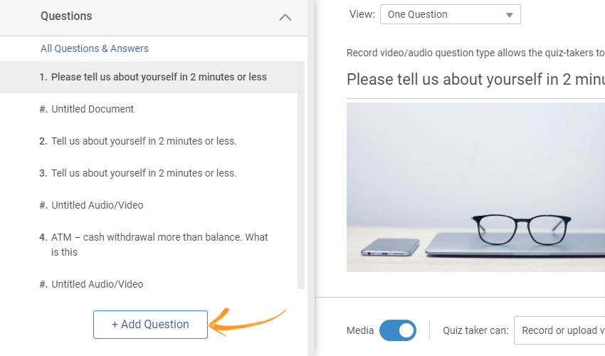 How to create a video interview question in ProProfs Quiz Maker