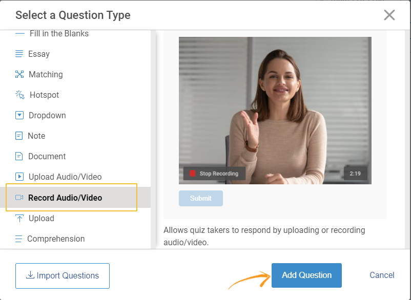 Adding a audio/video interview question to your Quiz