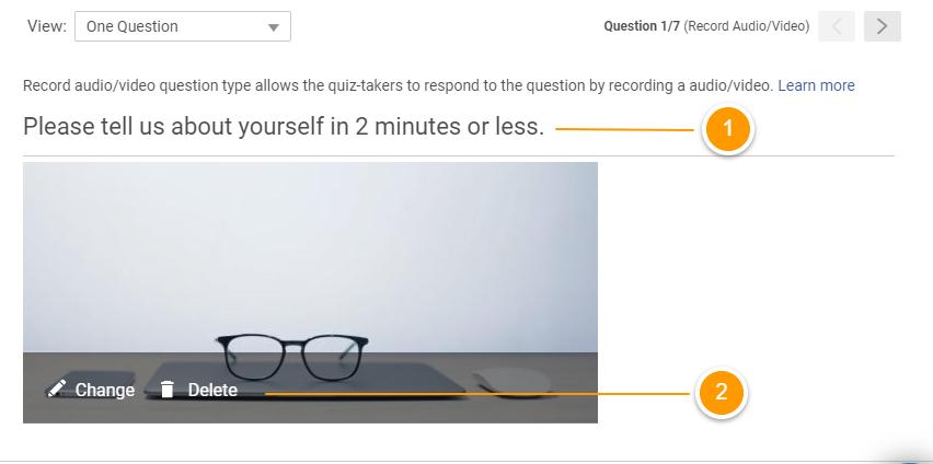 Customizing record audio/video question type