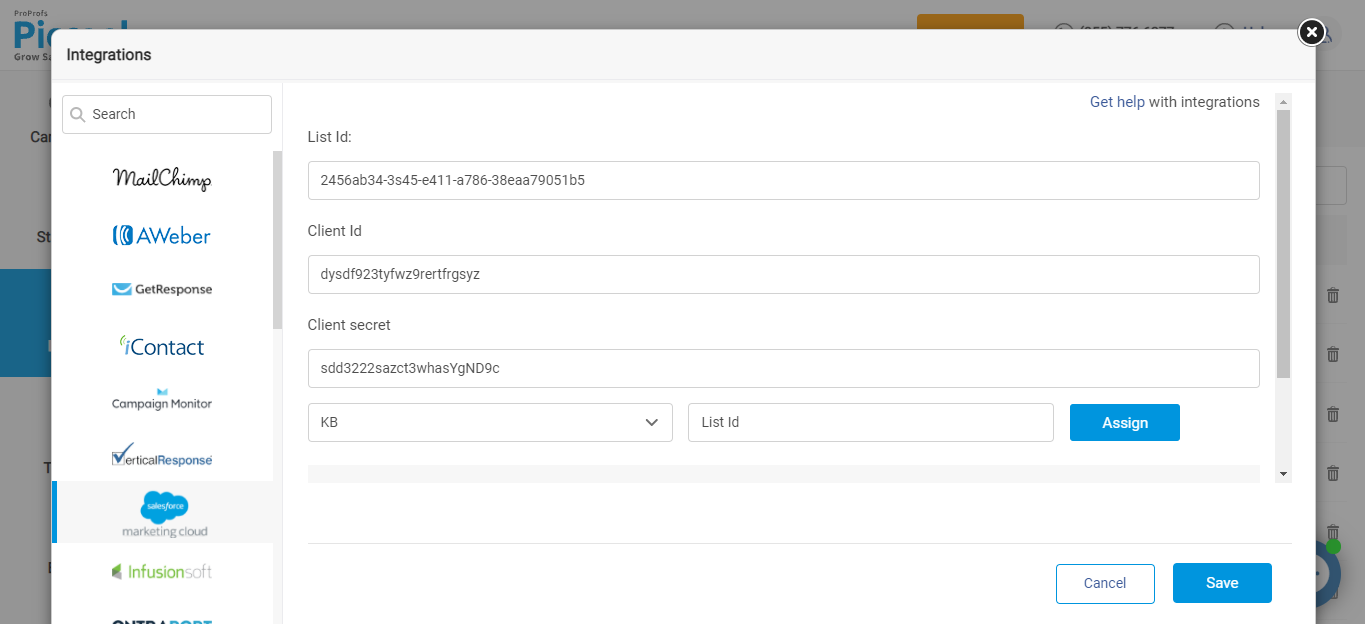 Integrating Picreel with Salesforce Marketing Cloud