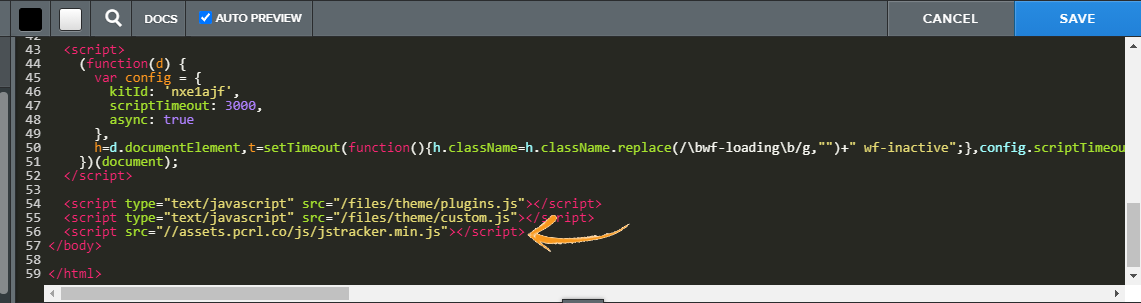 Pasting the snippet code before body tag