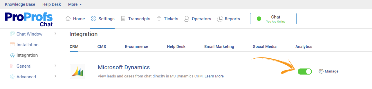 Integrate Live Chat with MS Dynamics