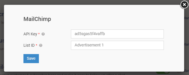 Add API Keys and List ID