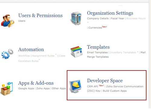 Zoho developer space