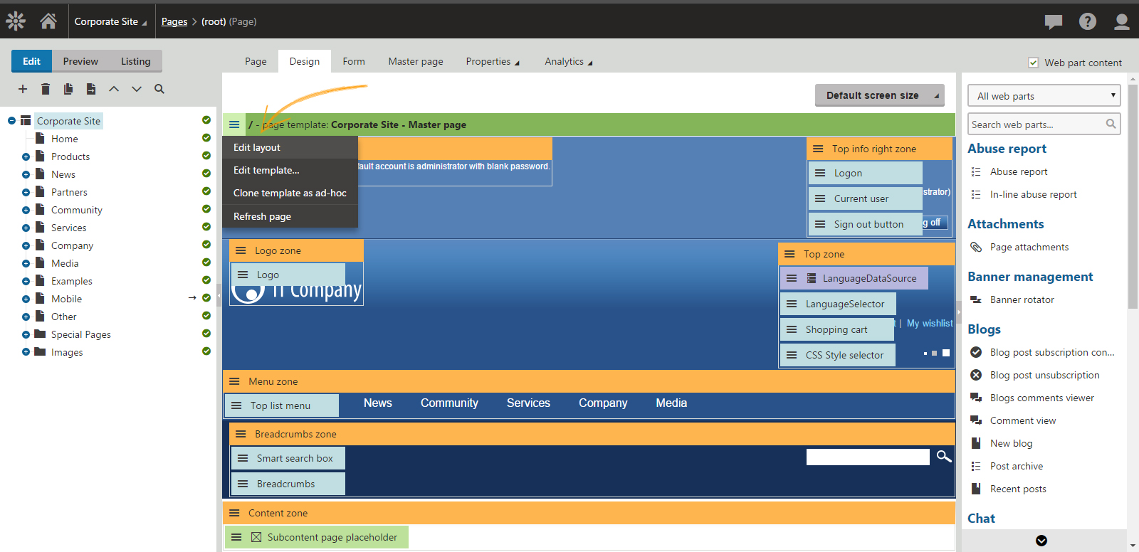 Log in to your Kentico CMS admin panel