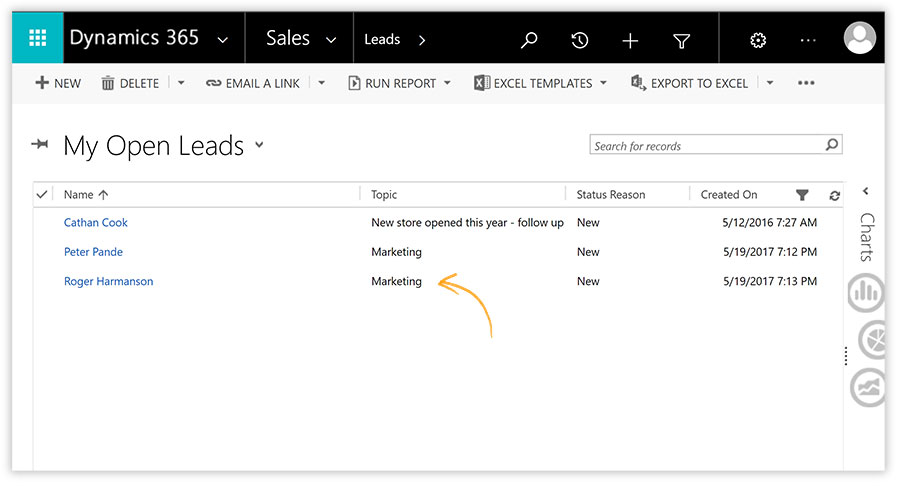 Now, leads will appear in the MS Dynamics CRM.