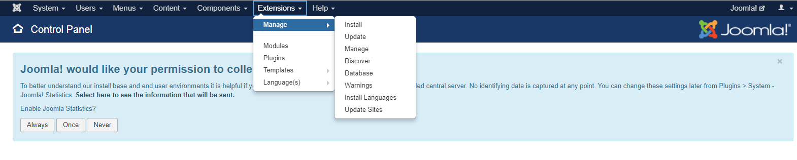 Navigate to Extensions and select Manage, and click Install.