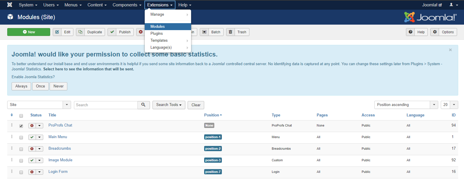 Select the ProProfs Live Chat Module and click Edit
