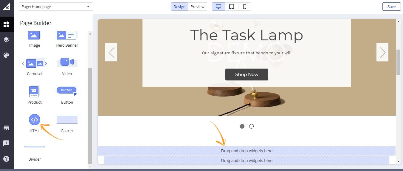 BigCommerce HTML setting