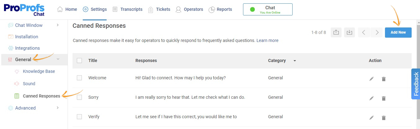 Add Canned Responses in Live Chat