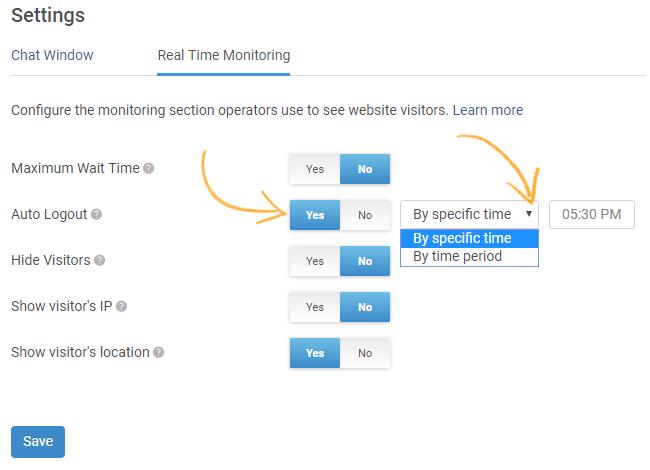 Select auto-logout options