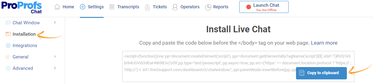 Live chat installation code