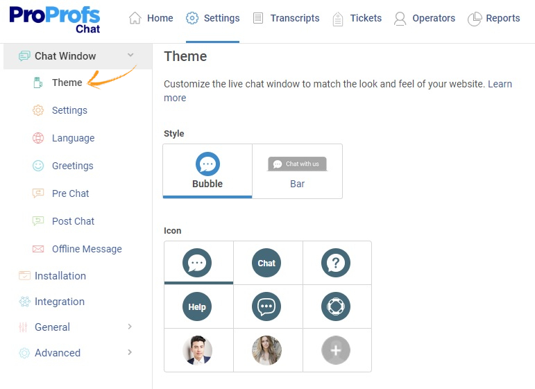 Customize the live chat window