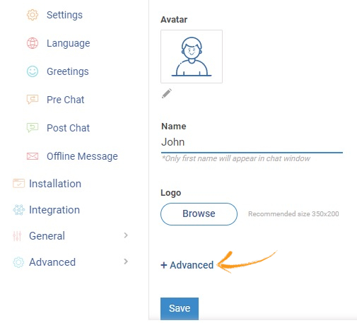 Click Advance to customize live chat widget