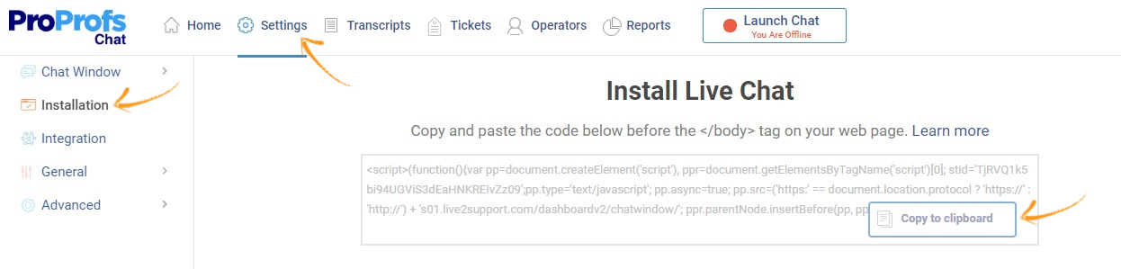 Copy the Live Chat installation code.