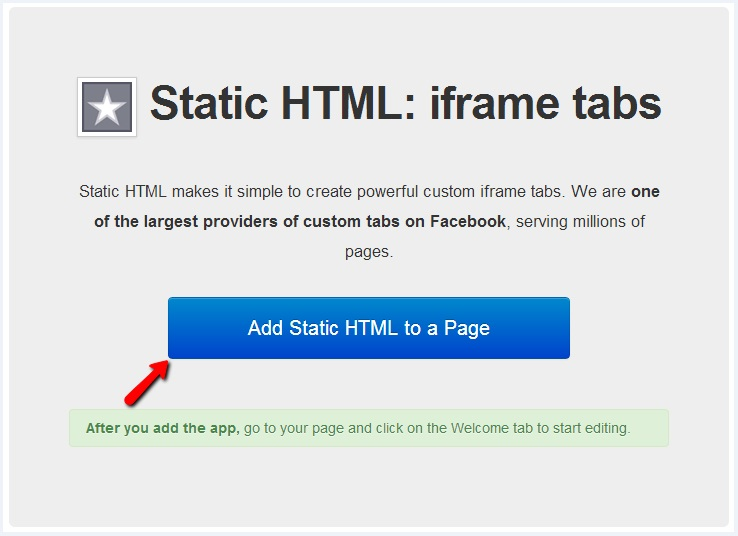 Add static HTML