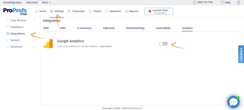 EnableGoogle Analytics integration.