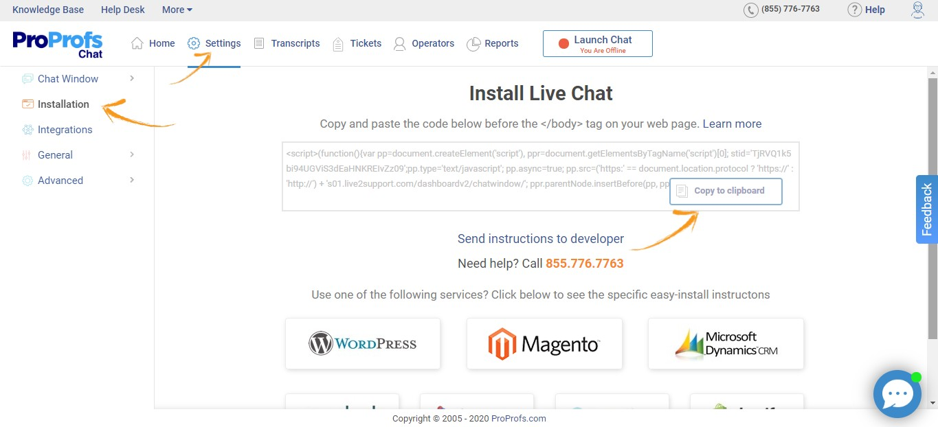 Copy the Live Chat Installation code